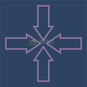 簡潔創意紫色四個方向指向中心標識卡通圖標