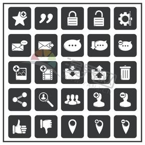 黑白办公管理社交媒体图标合集
