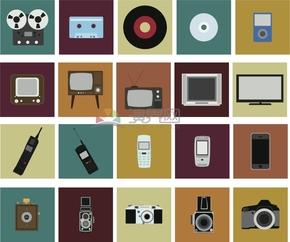 简约复古创意电子数码产品卡通图标合集