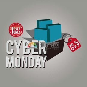 商业促网购星期一蓝黑七折仅一天图标矢量图素材