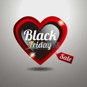 商業促銷黑色星期五愛心立體圖標矢量圖素材