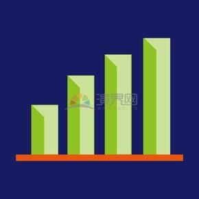 卡通商业金融数据上升柱状图办公元素图标插图