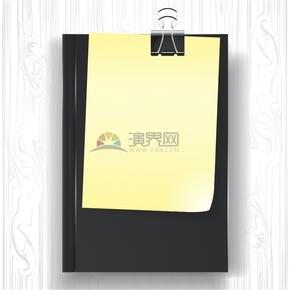 便利签夹在黑色书本的简约设计