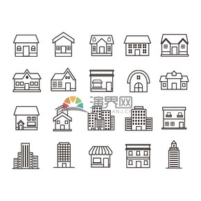 黑白线稿建筑类型矢量图标合集