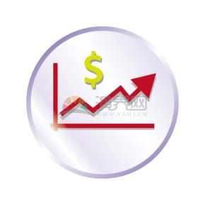 金融上涨趋势线图标