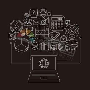 棕色背景卡通圖標商業元素創意設計合集