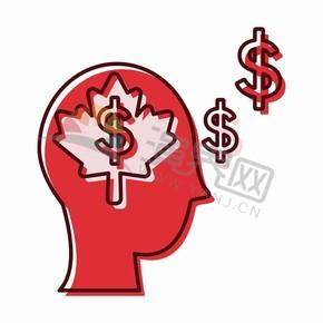 红色人像头商业商务经商头脑金融图标