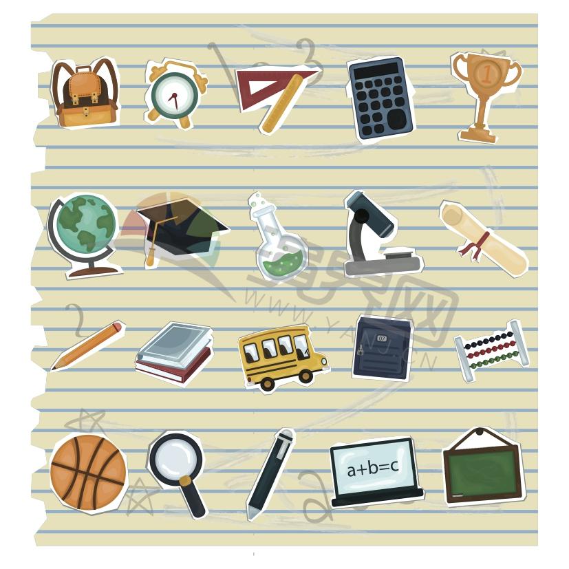 彩色学习办公用品文具实验器具教育学校剪贴卡通图标合集