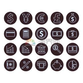 金錢實心底線性描邊icon合集