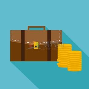 卡通商业金融商务包金币办公用品素材