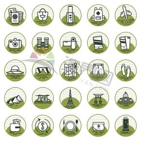 绿色出国外出旅游逛街餐饮旅行图标合集