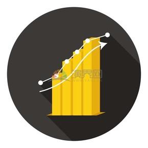 卡通商务金融经济数据上升立体柱状图插图素材