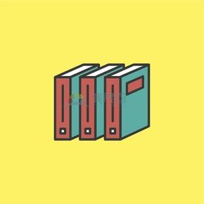 黄色卡通书本图标创意设计
