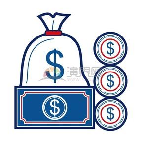 線性錢袋金幣紙幣組合素材