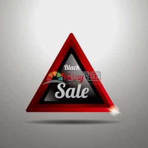 商业促销黑色星期五三角形立体图标矢量图素材