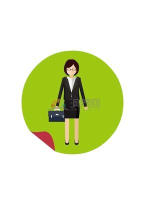 卡通手提商务包的职场女性