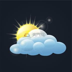 清新简约天气情况多云创意卡通图标