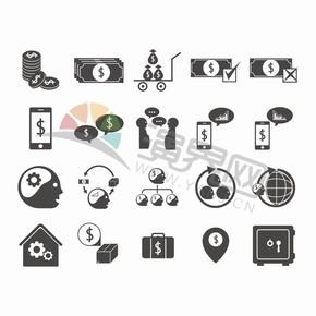 黑色简约金融卡通图标创意元素设计合集