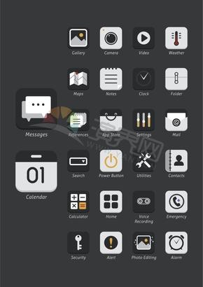 办公管理社交媒体手机应用程序图标合集