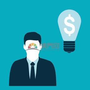 蓝色商务金融人物灯泡