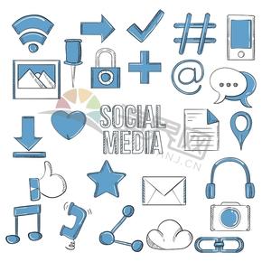藍色趣味學習辦公社交媒體應用程序圖標合集