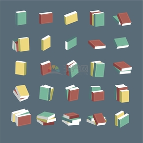 多种书籍摆放卡通图标合集