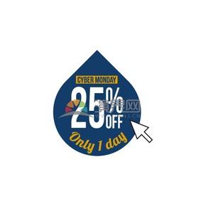 商業促銷網購星期一水滴狀二五折圖標矢量圖素材