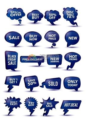 深蓝色促销折扣气泡标签