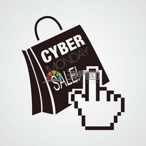 商业促销网购星期一黑色购物袋点击图标矢量图素材