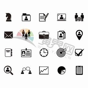 黑色简约商业卡通图标元素创意设计