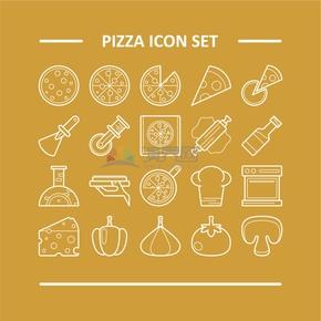 趣味活泼简约清新食物汉堡西餐披萨卡通图标合集