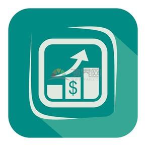商业金融青色数据上升UI矢量图标