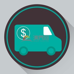 趣味活泼简约清新绿色金融银行钱币运输车辆卡通图标