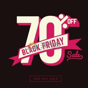 商业促销黑色星期五七折仅一天图标矢量图素材