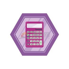 卡通紫色计算器矢量素材