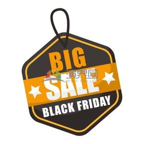 商业促销黑色星期五黄黑多边形吊牌图标矢量图素材