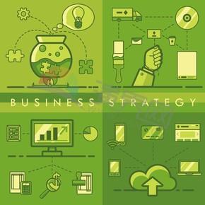 綠色系圖標卡通商業創意元素設計合集
