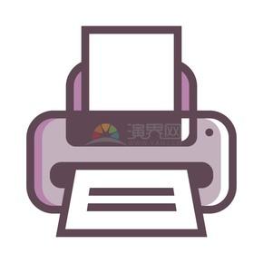 商业办公元素紫灰色打印机