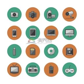 橙绿相间电子产品娱乐游戏卡通图标合集