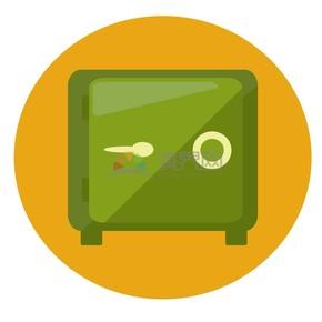 商业金融绿色保险箱办公UI矢量图标