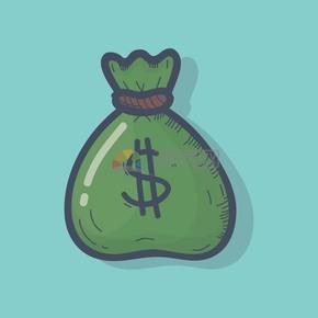 手绘风钱袋金融元素