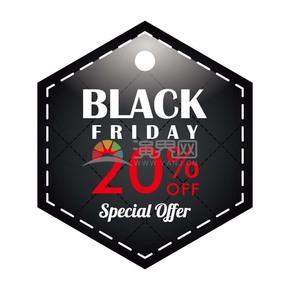商业促销黑色星期五黑色多边形两折标签图标矢量图素材