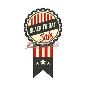 商业促销黑色星期五徽章线条图标矢量图素材