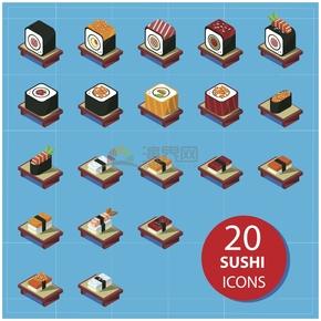蓝色寿司简约图标创意设计合集