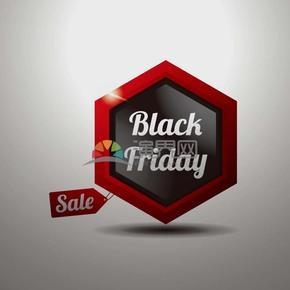 商业促销黑色星期五多边形立体图标矢量图素材