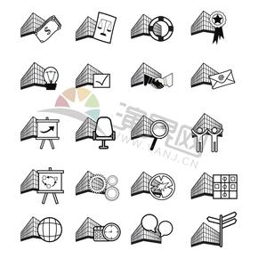 黑白简约商业商务办公管理贸易交流合作图标合集