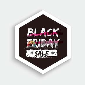 商业促销黑色星期五黑白多边形图标矢量图素材