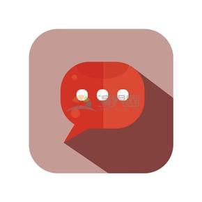 矢量红色聊天气泡图标元素