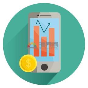 卡通扁平手机金币指数图标