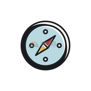 卡通指南针图标创意设计